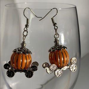 Silver pumpkin carriage earrings